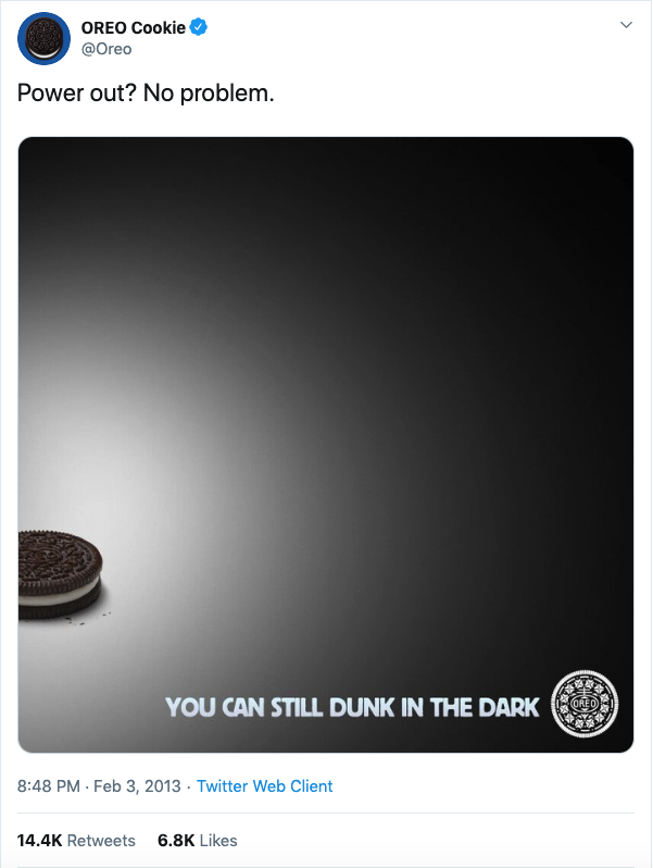 Oreo Cookie Super Bowl Tweet